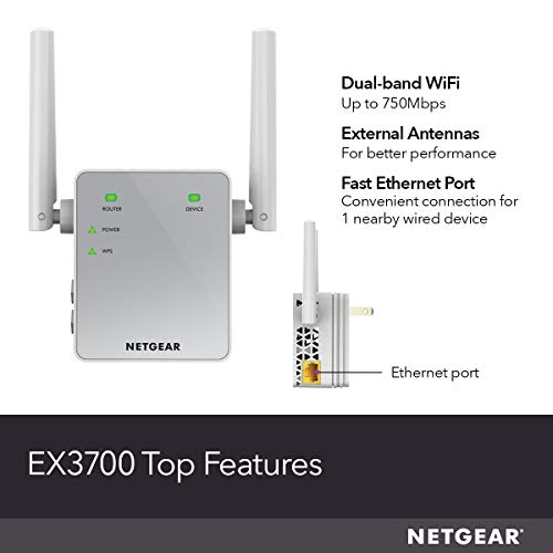 NETGEAR Wi-Fi Range Extender EX3700 - Coverage Up to 1000 Sq Ft and 15 Devices with AC750 Dual Band Wireless Signal Booster