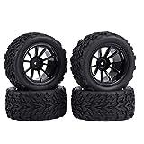 Neumáticos RC antideslizantes negros de alta calidad, para coche de camión RC a escala Exceed/Traxxas 1/10(Black 10-hole outline)