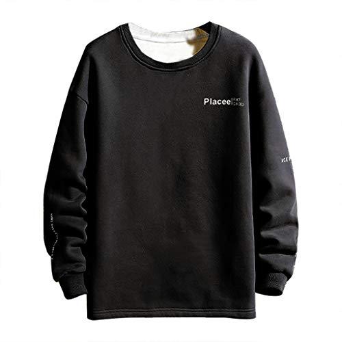CESSBO - Pullover da Uomo, Semplice, Casual, con Lettere Larghe e Patchwork, a Maniche Lunghe Nero 2 M