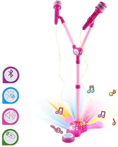 deAO Karaoke Infantil Dúo Conjunto Musical de 2 Micrófonos con Soporte de Pie, Amplificador, Pedal y Luces LED