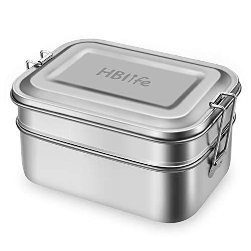 HB life 2-teilige Brotdose aus Edelstahl Lunchbox Bento Box Metall Dichte Brotdose Lunchbox 1400ml Fassungsvermögen mit Fächern für Reisen/Arbeit/Schulkinder und Erwachsene Doppelschicht