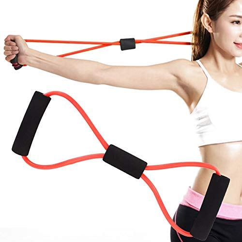 Resistance Bands, Chest Expander Muscle Exerciser for Men Women 8-Shaped Tensioner Stretch Band Shoulder Arm Elastic Rope for Chest Expansion Exercise, Yoga, Home Practice (Red)