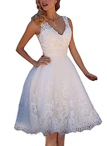 Damen Brautkleid Hochzeitskleider A-Linie Sweetheart Midi Spitze Brautkleider