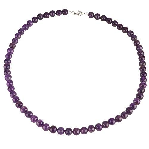 Kette Collier aus echtem Amethyst & 925 Silber violett Kugelkette Halskette für Damen