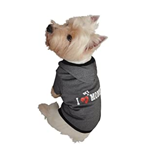 Ruff Ruff and Meow Dog Hoodie, I Love My Mommy, Black, Extra-Small