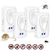 Repelente Ultrasónico Antimosquitos,Repelente mosquitos,Trampas para ratones Repelente ratones Mata cucarachas,Eléctrico Extra Fuerte para Interiores Insectos Hormigas,Roedores no Tóxico (4 Pack)