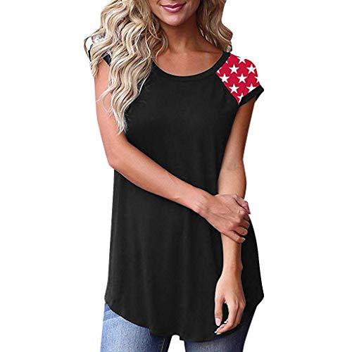 T Shirt Damen Sommer Bluse Shirts Tops Hemd Tunika Streifen Ärmel Patchwork Lässig Lose Kurzarm