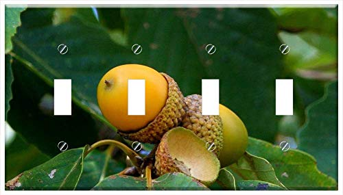 Switch Plate 4 Gang Toggle - Acorn Cluster Oak Seed Nut Green Leaf Beginning