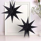 KATELUO 30cm Papier Stern Dekoration,3D Sterne Form für Weihnachten,Papierstern Weihnachtsdeko,weihnachtsdeko papierstern.(2 Stück) (schwarz)