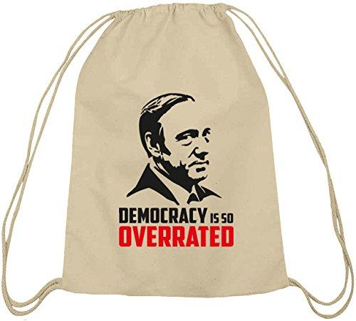 Shirtstreet24, HOC - Democracy Is So Overrated, Baumwoll natur Turnbeutel Rucksack Sport Beutel, Größe: onesize,natur
