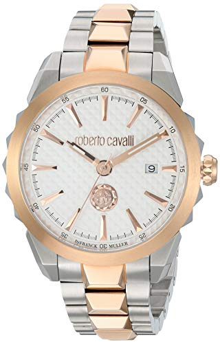 ROBERTO CAVALLI Men's Costellato Rose Gold Tone Quartz Watch with Stainless Steel Strap, Two, 18 (Model: RV1G034M0086)
