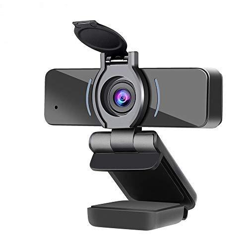 Dericam Webcam 1080P Full HD con Microfono e Cover per Privacy, Webcam per Computer USB, Webcam per Streaming HD di Computer per PC, Desktop e Laptop, Obiettivo grandangolare