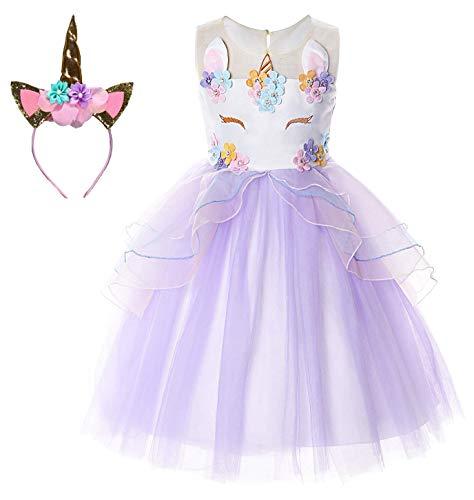 Le SSara Unicornio Traje Vestido de Fiesta Vestidos de Flores de Noche Vestido de tutú (150, E44-purple)