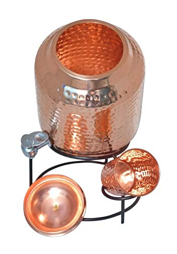Copper World 11000ml Hammered Copper Water Dispenser (Matka) with Stand & 1 Copper Glass  Leak Proof Container Pot with 100% Pure Copper and Ayurvedic Health Benefits (11000 ML)
