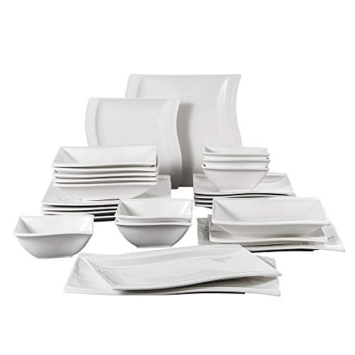 MALACASA, Series Flora, 26-Piece Dinner Set Wave Shaped Ivory White Porcelain Dinner Sets with 6-Piece Bowls 6-Piece Dinner Plates 6-Piece Dessert Plates 6-Piece Soup Plates 2-Piece Rectangular Plates, Service For 6