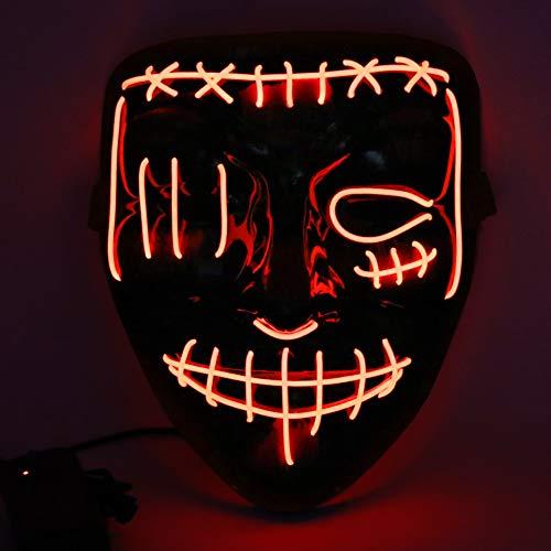 Etmury Halloween Maske Led Leuchten Masken mit 3 Einstellbare Blitzmodi für Horror Halloween Fasching Karneval Party Kostüm Cosplay Dekoration (Rot)