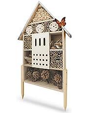 Wildlife Friend | Insect Hotel XL con Soporte y Techo de Zinc - sin Tratar, casa de Insectos para Abejas, Mariquitas y Mariposas, Hotel de Abejas y Ayuda para anidar para Colgar o pararse, 76 cm