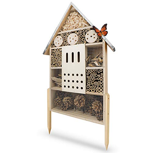 WILDLIFE FRIEND Insect Hotel XL with Metal Roof, Untreated, Natural Wood Insect House for Bees, Ladybirds & Butterflies, Bee Hotel & Nesting Aid to Hang or Set Up, 76cm