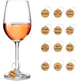 12 Pieces Wine Glass Charms Markers Drink Markers for Wine Glass Champagne Flutes Cocktails, Martinis (Wooden, 12 Pieces)