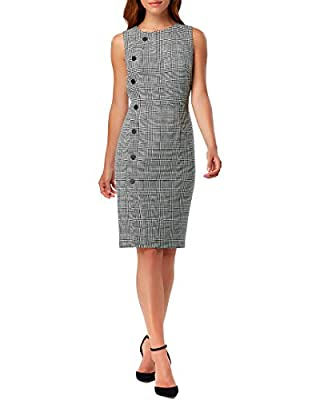 Tahari by ASL Women's Sleeveless Plaid Sheath Dress with Side Button Detail