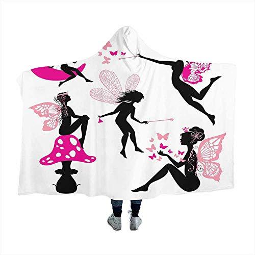 GGACEN Fairy Hooded Throw Blanket Soft Cloak Girl Silhouettes Sitting on Moon Mushroom Winged Fantastic Dreamy Cartoon Cozy Throw Soft Warm Winter Novelty Blanket Hot Pink Rose Black 80x60 inches