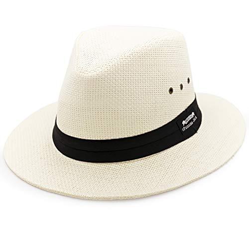 Panama Jack Natural Matte Toyo Safari Sun Hat with Black Band, 2 1/2' Brim, UPF (SPF) 50+ Sun Protection (Large)