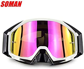 XuBa Motorcycle Cross-Country Goggles Wide Vision Goggles for Mountaineering Compatible Myopic Glasses (White Frame)