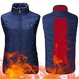OUYA - Chaleco térmico para mujer, calentador de cuerpo eléctrico, almohadilla térmica para mantener el calor en frío invierno al aire libre, motocicleta, senderismo, esquí, azul, XXL