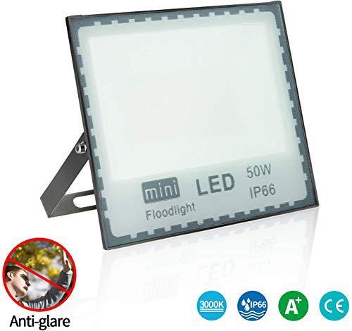 Faro LED Esterno 50W Bianco Caldo,3000K faretto LED da Esterno Impermeabile IP66 Alta luminosità faretto LED Esterno 4500lm SMD2835 faretti LED Esterno