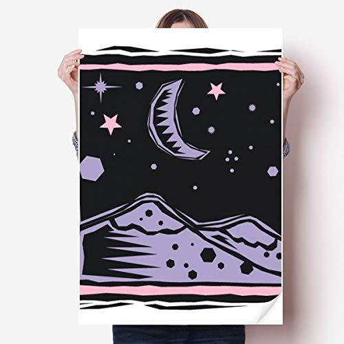 DIYthinker Purple Mountain Moon Star Element Gravure Vinyle Autocollant de Mur Poster Mural Wallpaper Chambre Decal 80X55Cm 80Cm X 55Cm Multicolor