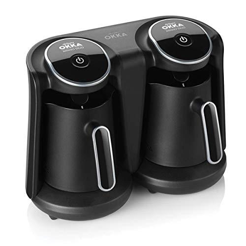 Arzum OK006-K OK006 OKKA Minio Duo Türkische Kaffeemaschine 8 Tassen Kaffee auf einmal auf einmal, Plastic, Schwarz