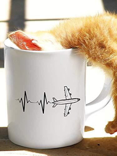 Dozili Heartbeat Vliegtuig Piloot Geschenk Luchtvaart Vliegende Luchtverkeer Controller Piloot Mok Keramische Mok Theekop Koffie Mok, 11 Oz, Wit