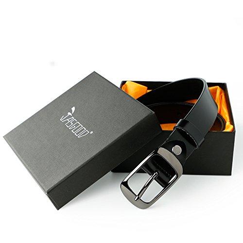 ジャスグッド JASGOOD レディースベルト 本革 牛革 ベルト 耐久性 柔らかい カジュアルベルト レザーベルト全三色JA029 044 Black-B