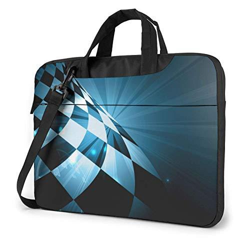 15.6 inch Laptop Shoulder Briefcase Messenger Racing Checked Flag Tablet Bussiness Carrying Handbag Case Sleeve
