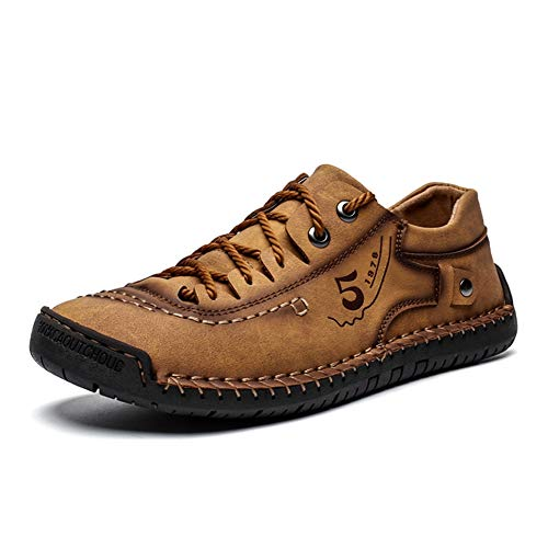FiveStoresCity Mens Casual Shoes Summer Breathable Sneakers Loafers Walking Shoes Hand Made Lace-Up Leather Dress Flats Shoes for Driving Business Working Office (US 9.5, Brown)