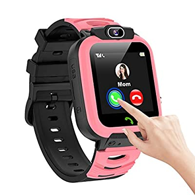 N//A Kids Smart Watch Boys Waterproof IPX7 Phone SOS Selfie Camera Music Message Touchscreen Alarm Children's Smart Watch Gift Toy for 3-12 Years Old from N//A