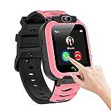 Reloj inteligente para niños y niñas con música y vídeo, con teléfono SOS y cámara, despertador, calendario, cronómetro, calculadora para niños y niñas (rosa)