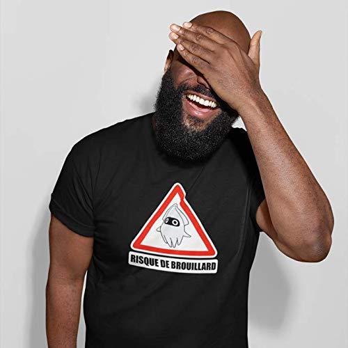 Okiwoki T-Shirt Noir Mario Kart parodique Poulba Le Poulpe Masqué : Risque de Brouillard ! (Parodie Mario Kart)
