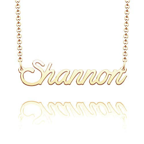 CLY Jewelry Name Necklace of Gold Plated Pendant with Personalized Gift for Women Girls Couple Yellow