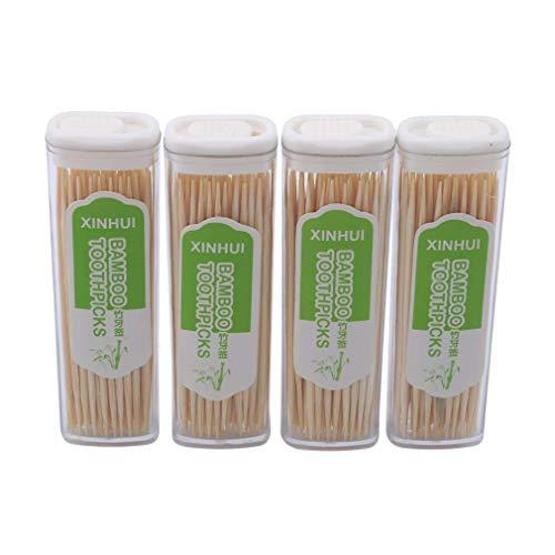 Fliyeong Doppelköpfiger Bambus-Zahnstocher mit Box, Umweltschutz Feines tragbares Zahnstocher-Zahnreinigungswerkzeug für Home Restaurant Hotel Langlebig und praktisch
