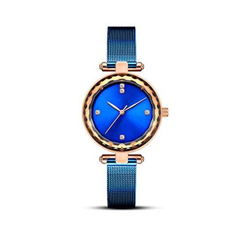 Wish Reloj De Moda para Mujer, Cuarzo, Regalo De Gama Alta, Impermeable, Casual, Casual, Acero, Correa De Acero, Cronógrafo,Azul