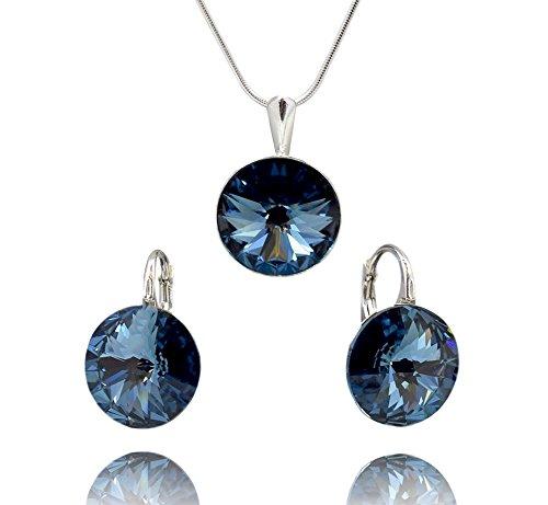 Crystals & Stones, Rivoli, Denim Blue, set di gioielli, orecchini e ciondolo in argento con catena in argento 925con elementi Swarovski®, gioielli con custodia