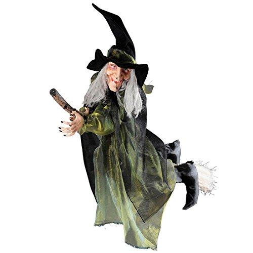 Figura de bruja volando con escoba para Halloween.