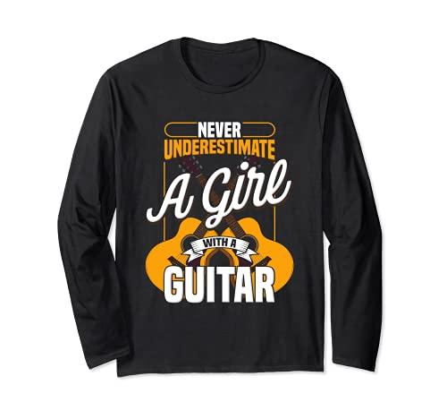 Niños guitarra musical eléctrica linda juventud Manga Larga