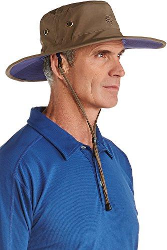 Coolibar UPF 50+ Men's Leo Shapeable Wide Brim Hat - Sun Protective (XX-Large- Khaki/Navy)