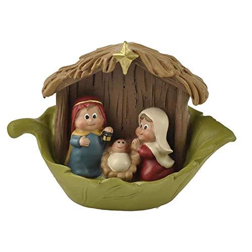 Exquisita Escena de la Natividad de Resina en el Pesebre Estatuilla Estatua de Navidad Decoración Artesanía hecha a mano Hogar Iglesia Dormitorio Accesorios de estudio Regalo 11X8X6cm Figura Estatua