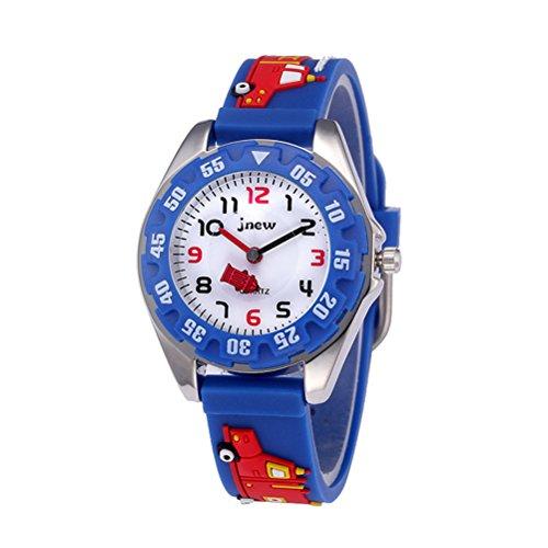 BESPORTBLE 3D Cartoon Uhr Nette Feuerwehrauto Kinder Quarzuhr Silikonkautschukband Armbanduhr Student Zeit Uhr Armbanduhr für Jungen Mädchen (Blau)