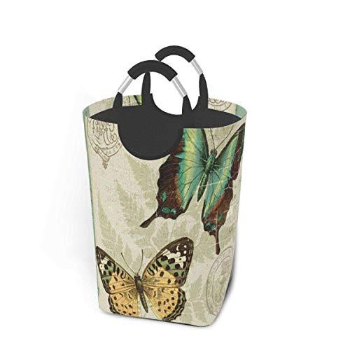 Vintage Butterfly Art Canasta de lavandería de tela plegable Cesto de lavandería portátil grande Bolsas de almacenamiento de ropa sucia Organizador de juguetes domésticos para niños Baño Armario de do