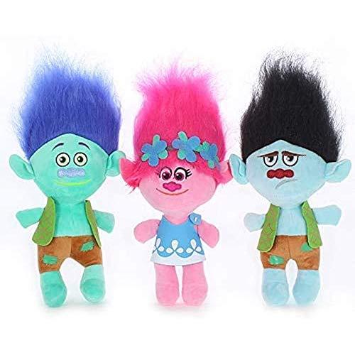 buyaoku Juguete Colgante de Peluche con Rama de Amapola Troll, Juguete de Peluche mágico Colorido para niños, Regalo de cumpleaños, 23 cm o 35 cm 3 uds