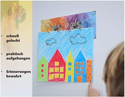 KiddiKunst Bilderrahmen (100 Bilder) Kinder - Familie (DIN A4 + DIN A3) + Vierfachlocher + Schrauben + Dübel [2020] (Wand, Raumdekoration)